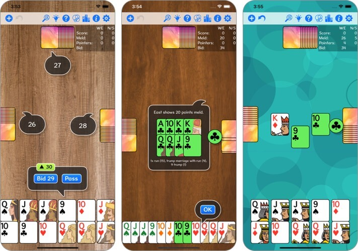 Pinochle iPhone and iPad Card Game Screenshot