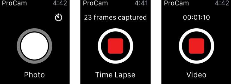ProCam 7 Apple Watch App Screenshot