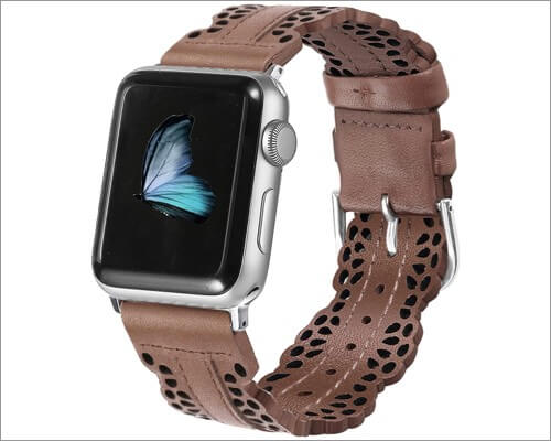 Secbolt Chic Lace Leather Strap for Apple Watch Series 6, 5, 3 and SE