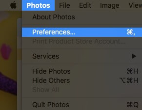 Select Photots from Menubar and Click on Preferences on Mac