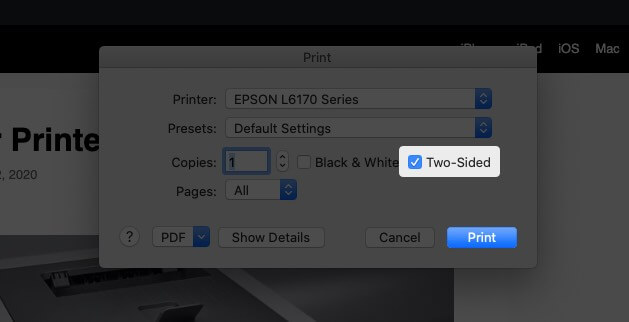 Select Two-Sided Option and Click on Print to Print Double-Sided in Google Chrome on Mac