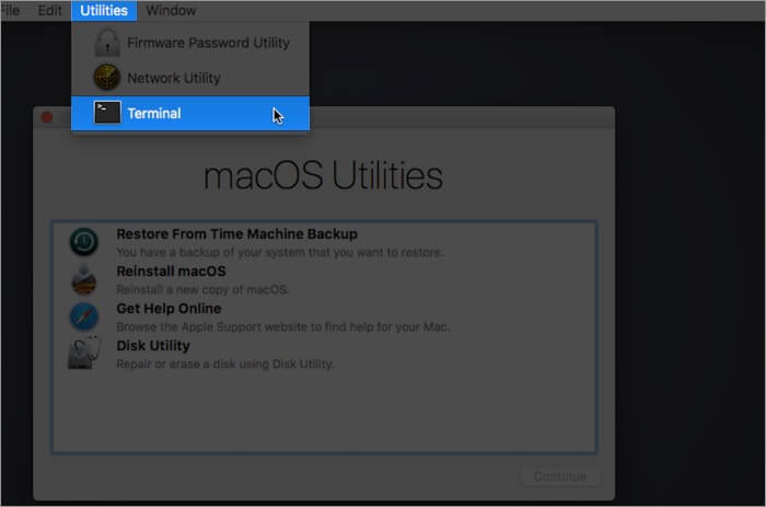 Select Utilities and Click on Terminal on Mac in Recovery Mode