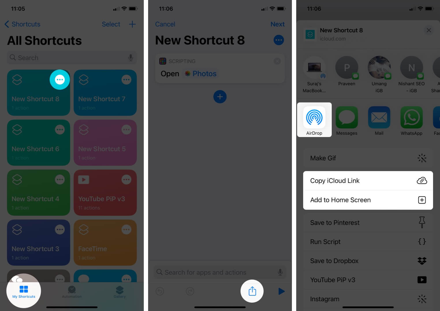 Share Shortcut with Other from Shortcuts App on iPhone
