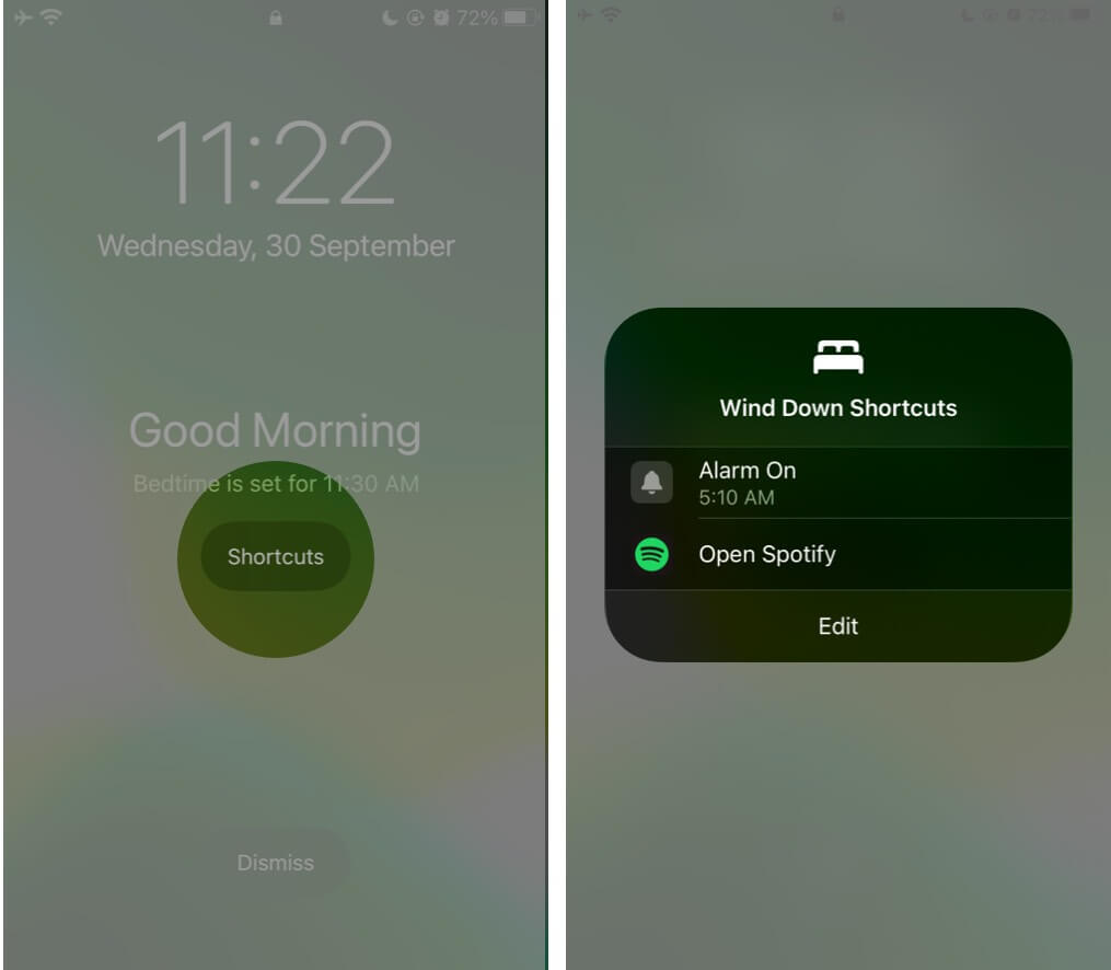 Siri Shortcut on Bedtime iPhone Lock Screen