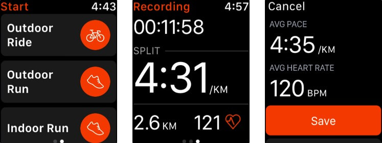 Strava Apple Watch App Screenshot