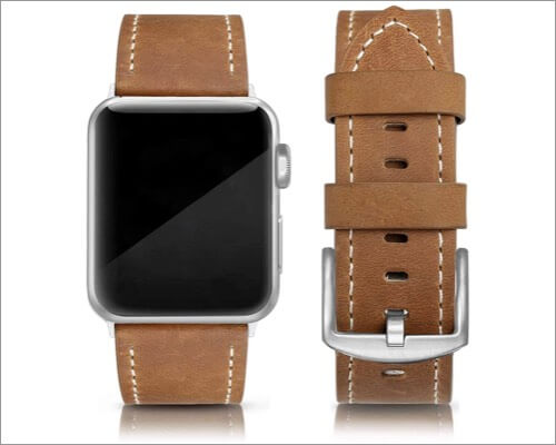 Swees Classic Leather Band for Apple Watch Series 6, 5, 3 and SE