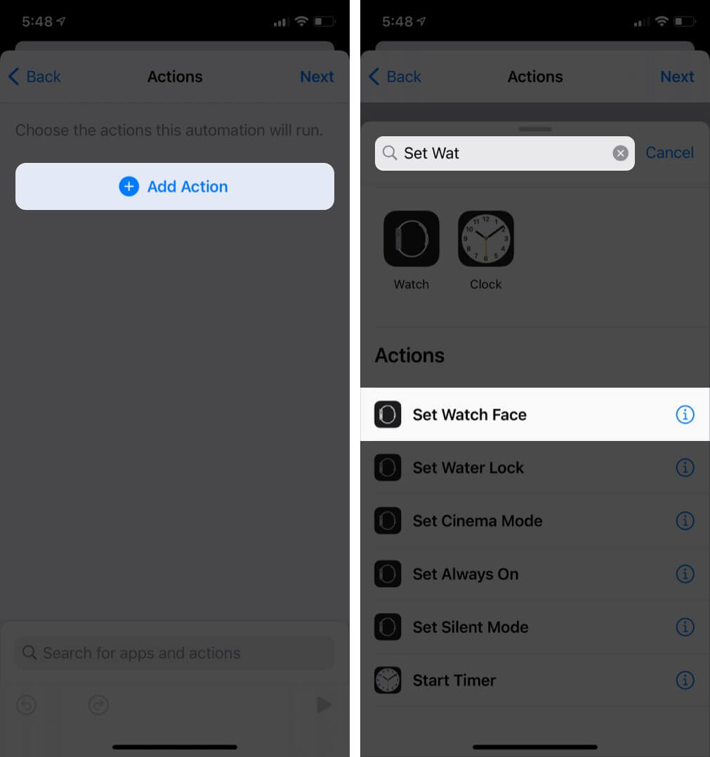 Tap on Add Action and Then Tap on Set Watch Face in Shortcuts App on iPhone
