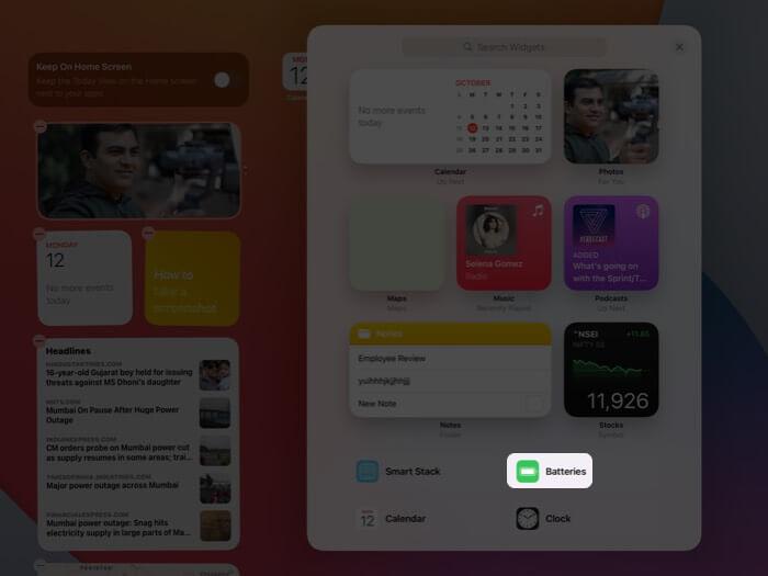 Tap on Batteries in Widgets on iPad