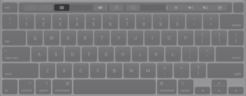 Tap on Grid Icon to Open Launchpad on Mac with Touch Bar