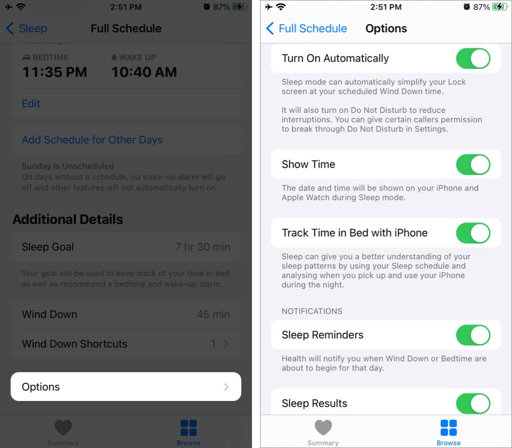 Tap on Option to Customize Bedtime Alarm Settings on iPhone
