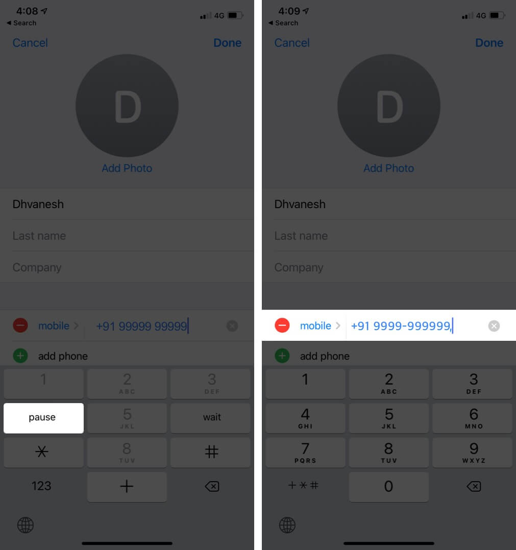 Tap on Pause to add Comma to Phone Number on iPhone