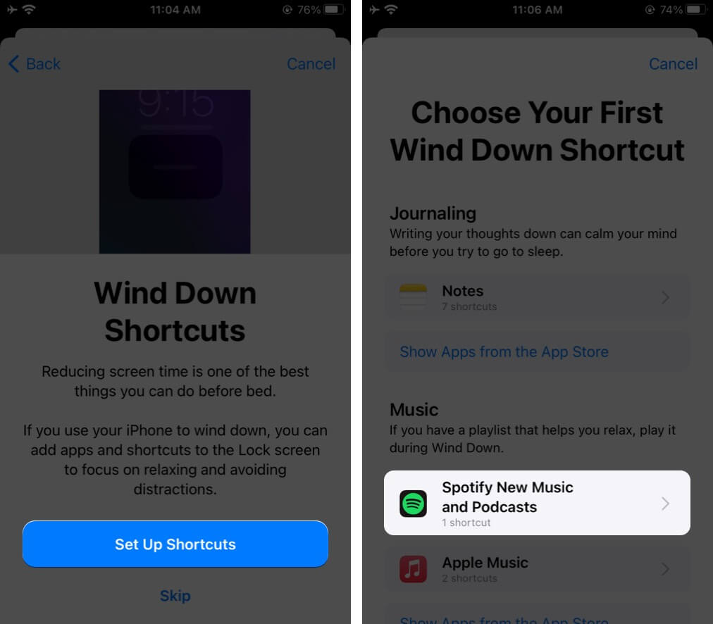 Tap on Shortcut and then Tap on Next on iPhone