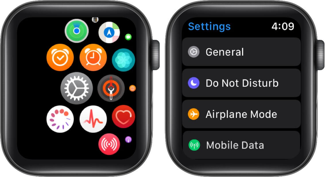 Tap Settings and then Airplane Mode on Apple Watch
