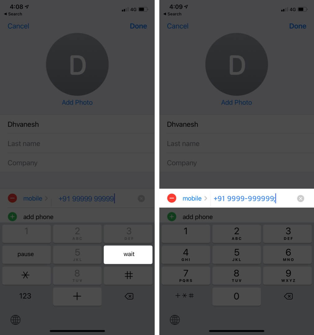 Tap on Wait to add Semicolon after Phone Number in Phone App on iPhone