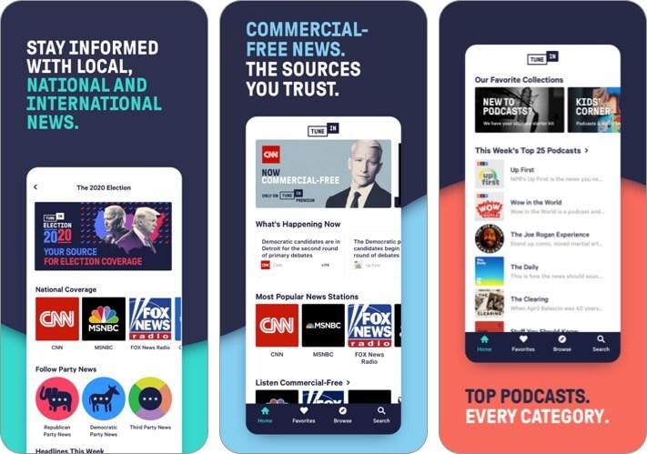 TuneIn Radio iPhone CarPlay App Screenshot