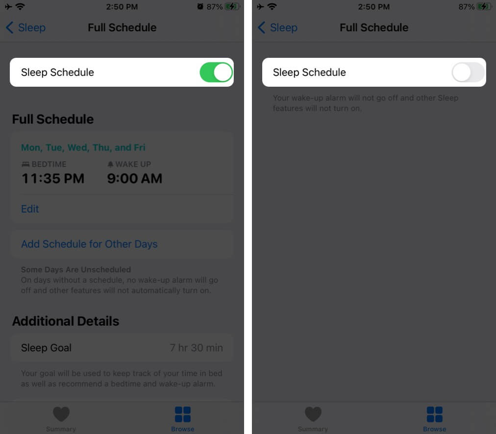 Turn Off Bedtime on iPhone