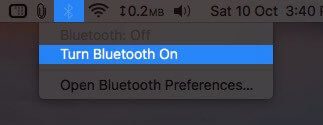 Turn On Bluetooth from Top Menubar on Mac