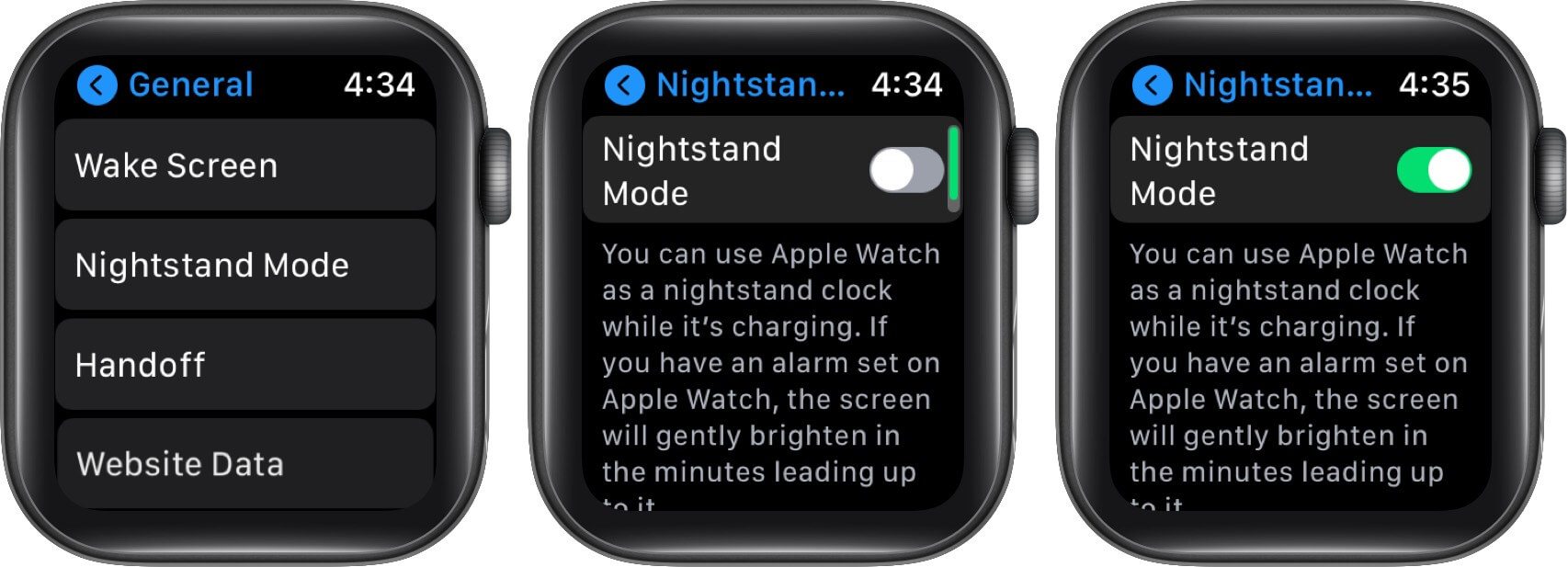 Turn ON Nightstand Mode on Apple Watch