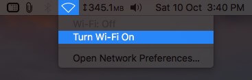 Turn On Wi-Fi from Top Menubar on Mac