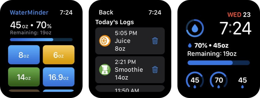 WaterMinder Apple Watch App Screenshot