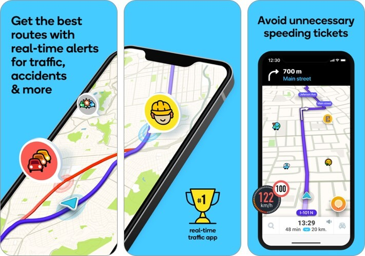 Waze Navigation & Live Traffic iPhone CarPlay App Screenshot