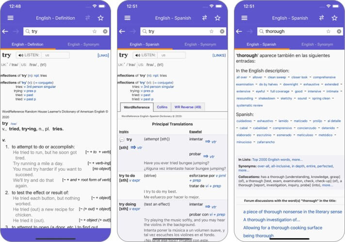 WordReference Dictionary iPhone and iPad App Screenshot