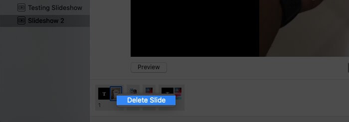 Delete Slide from Slideshow Using Mac Trackpad
