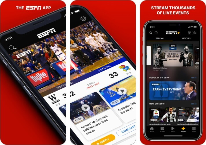 ESPN iPhone and iPad Sports App Screenshot