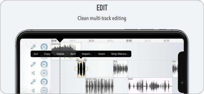 Ferrite Recording Studio iPhone and iPad Music Editor App Screenshot