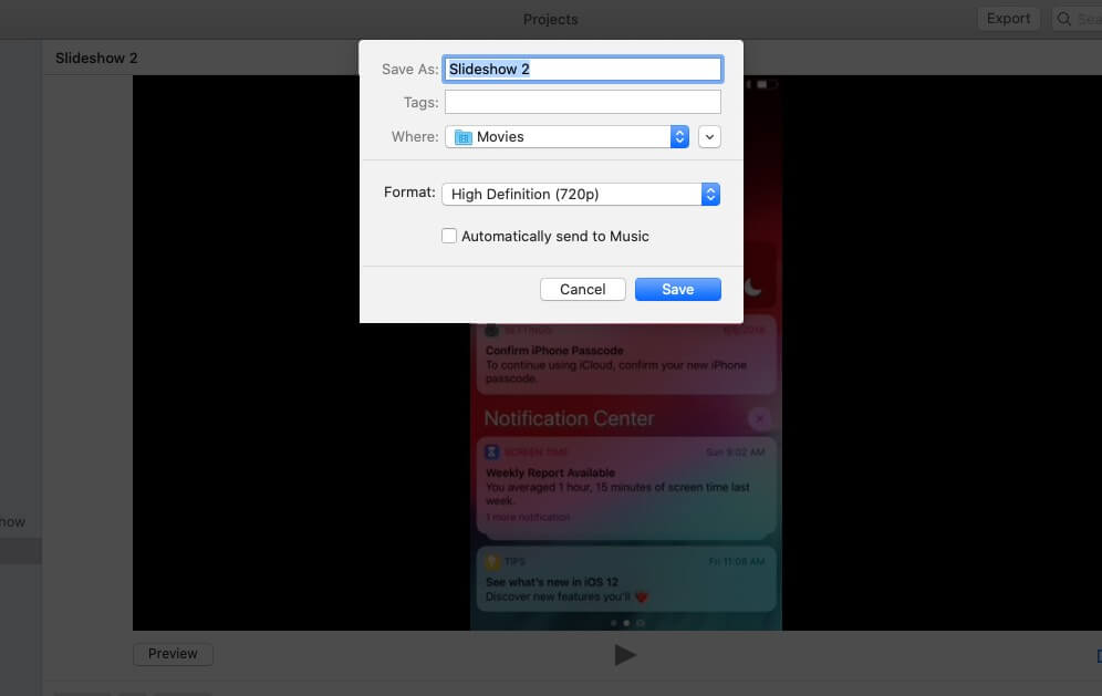 Give Name Select Location and Click on Save to Export Slideshow from Photos App on Mac