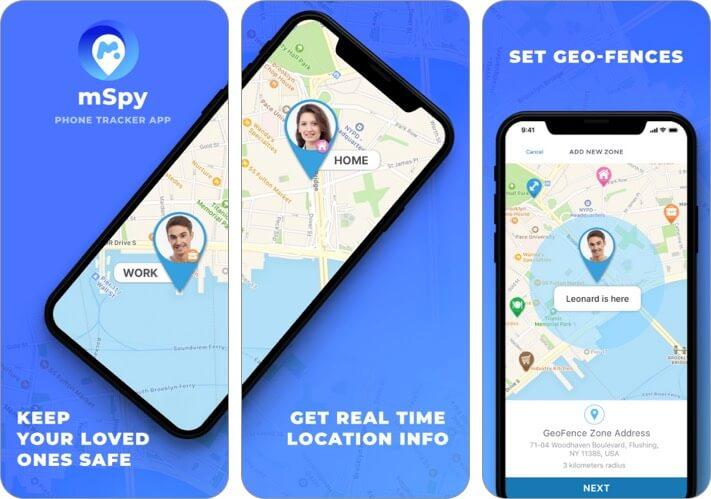 mSpy Tracker Find Family Phone iPhone and iPad Parental Control App Screenshot