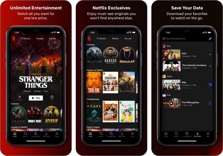 Netflix iPhone and iPad Entertainment App Screenshot
