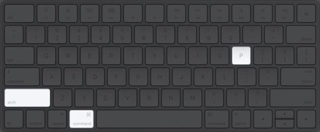 Press Command Shift P in Mac Keyboard