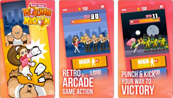 Punchin & Kickin iPhone and iPad Indie Game Screenshot