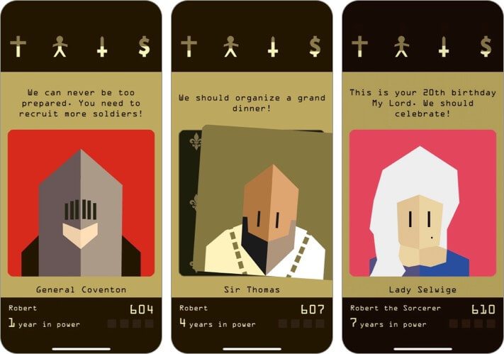 Reigns iPhone and iPad Indie Game Screenshot