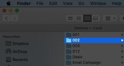 Select Folder in Finder on Mac