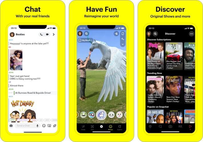 Snapchat iPhone and iPad Selfie App Screenshot