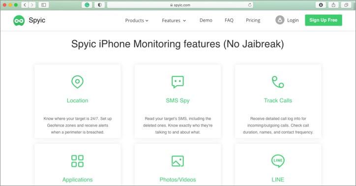 Spyic iPhone and iPad Parental Control App Screenshot