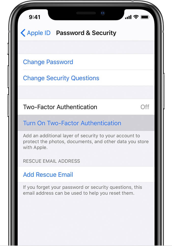 Tap on Turn On Two-Factor Authentication on iPhone