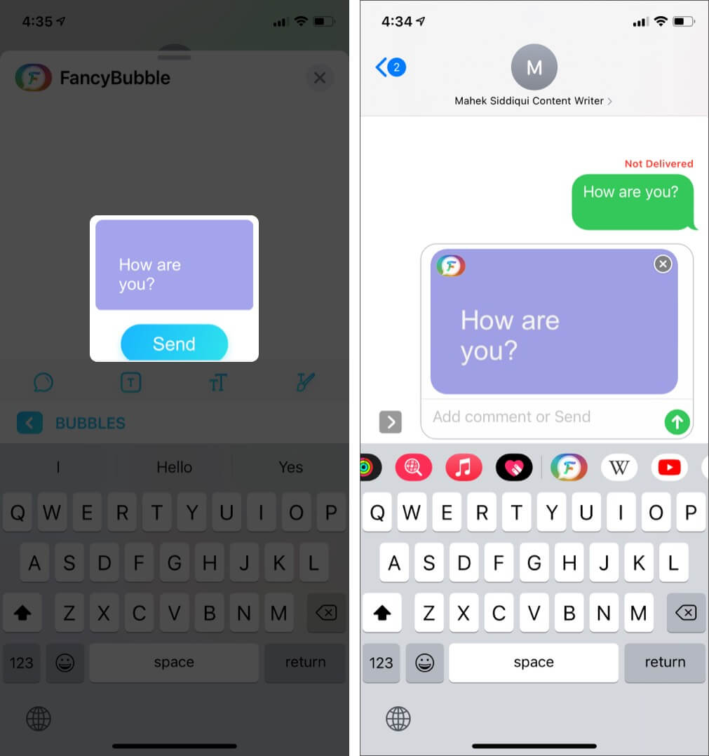 Type Message and Tap on Send in FancyBubble App on iPhone