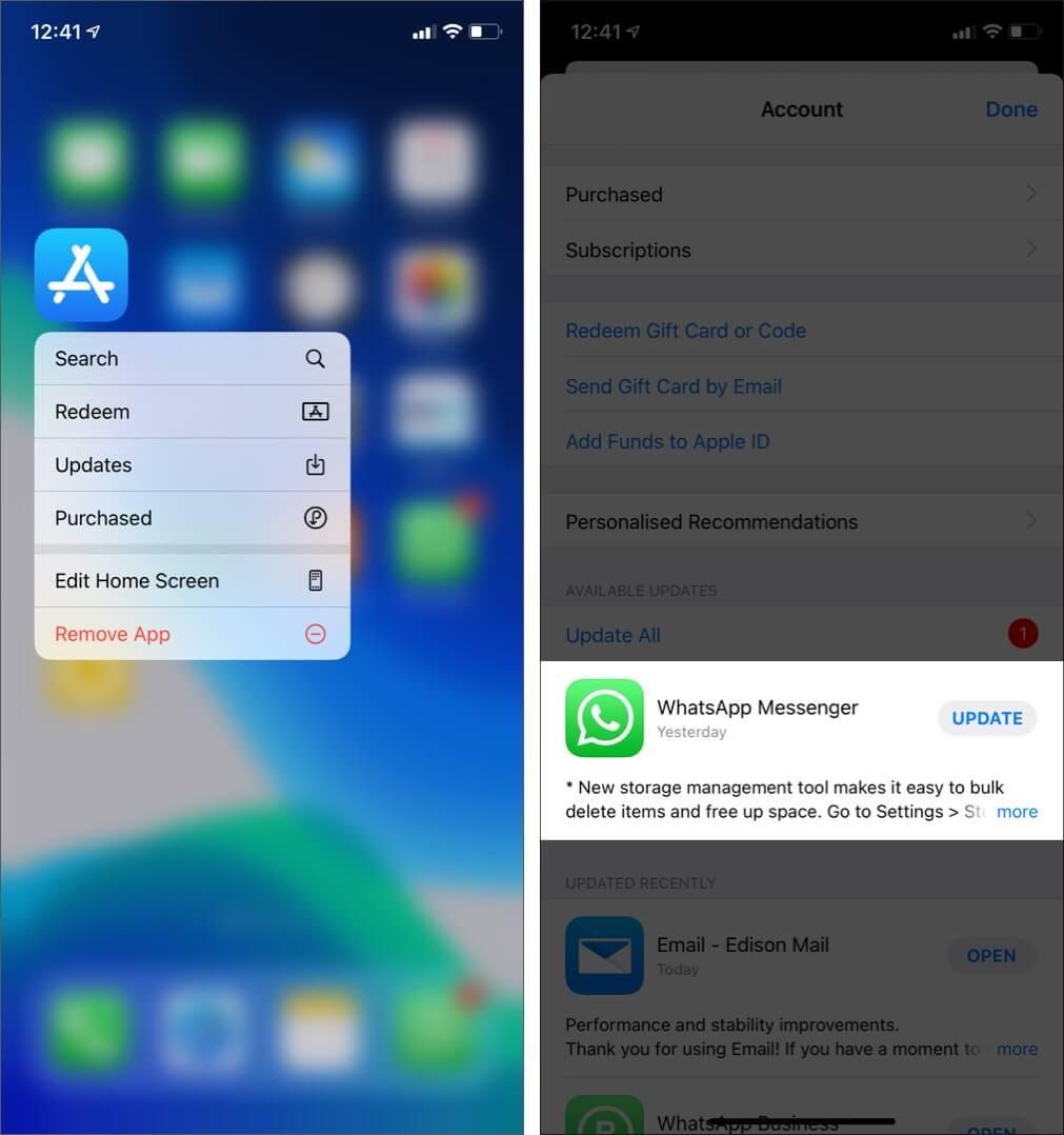 Update WhatsApp on iPhone