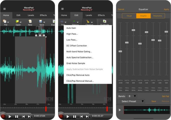 WavePad Music and Audio Editor iPhone and iPad App Screenshot