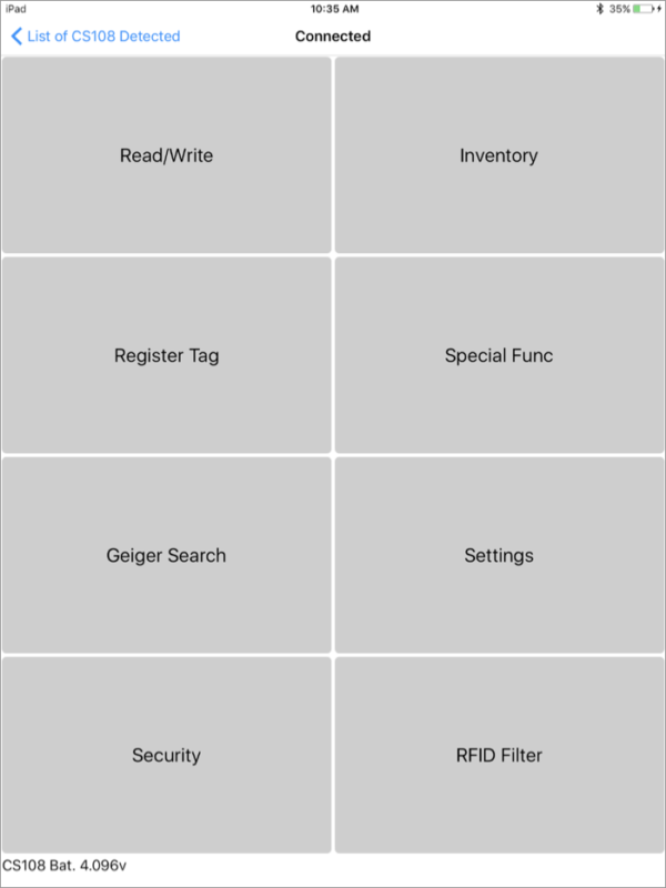 CS108 RFID Reader iPhone and iPad App