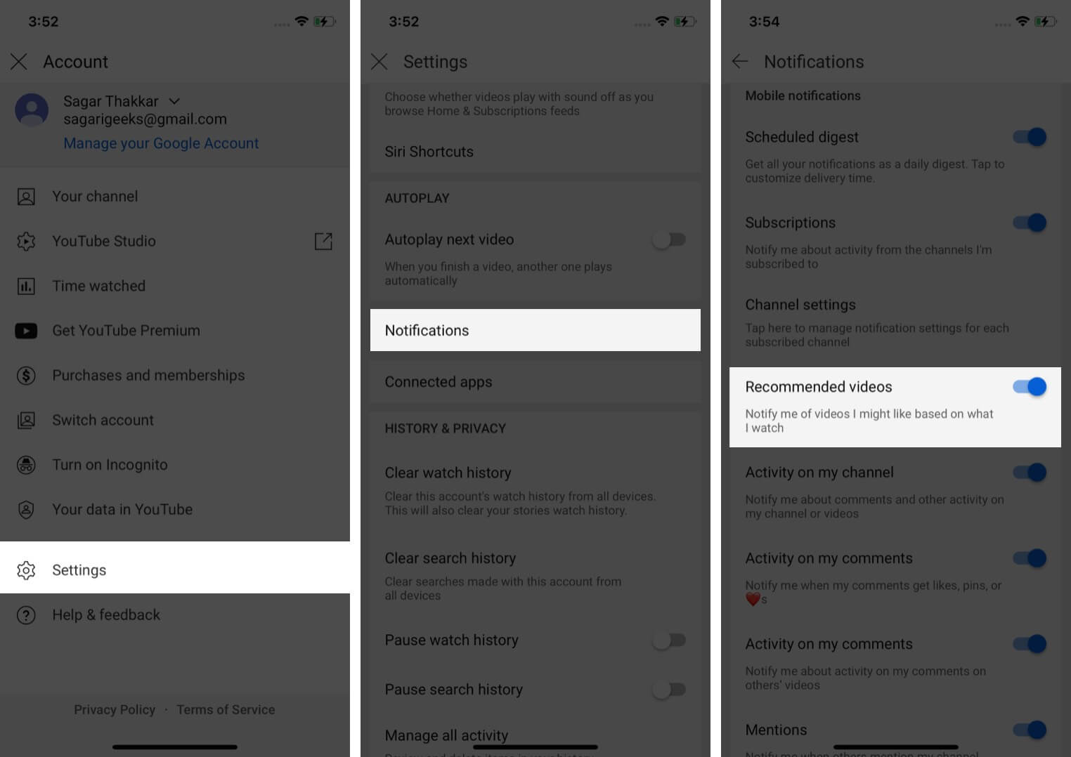 How To Turn On Notifications For Recommended Content in YouTube
