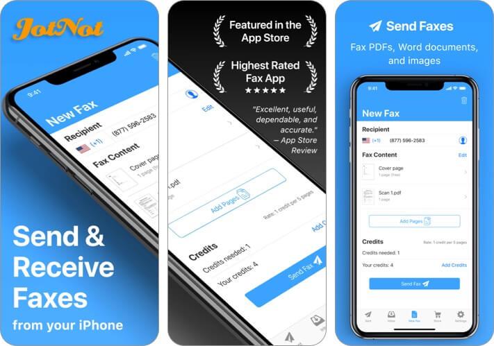 JotNot Fax App für iPhone und iPad Screenshot