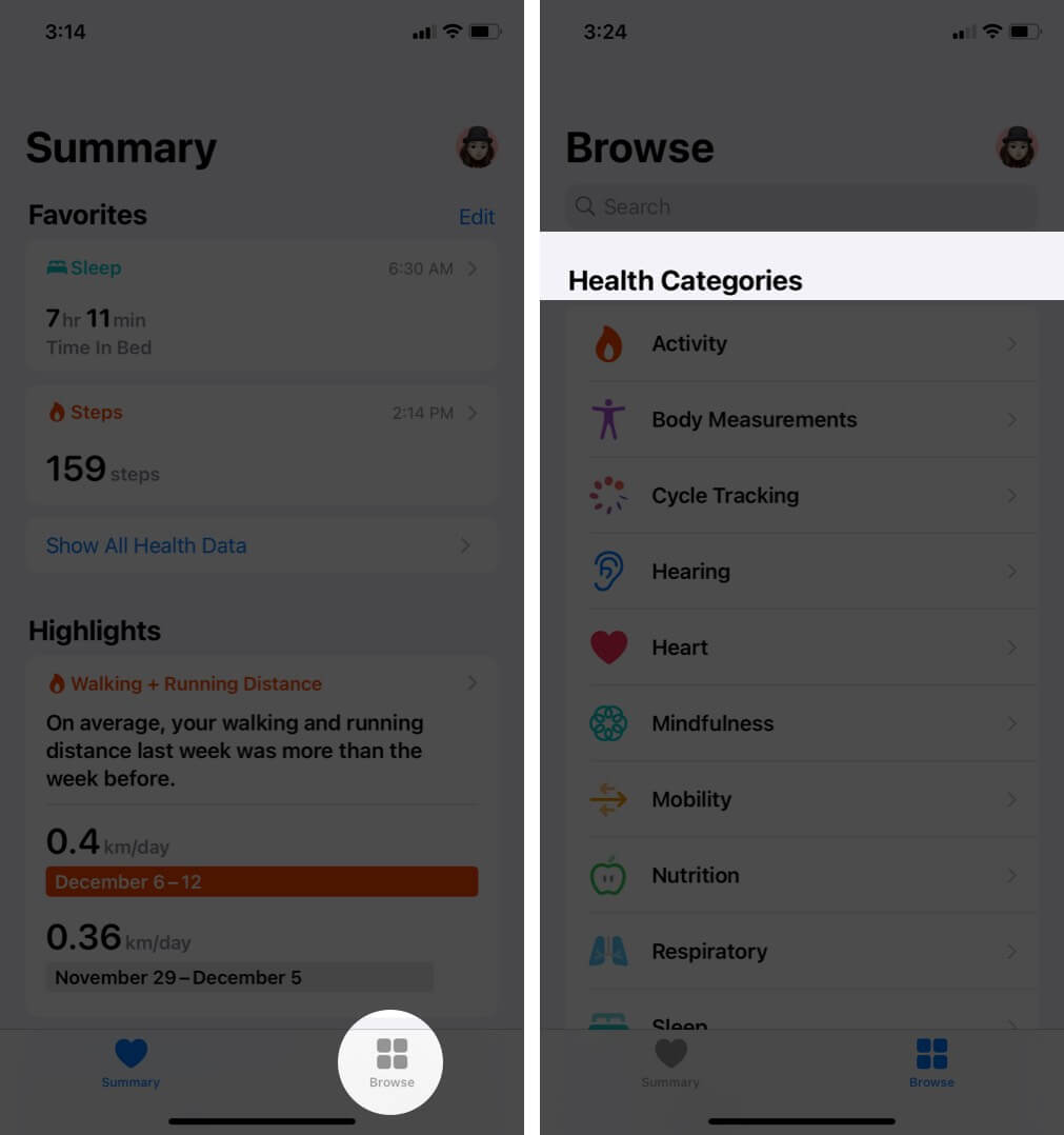 Open Health app and select category on iPhone