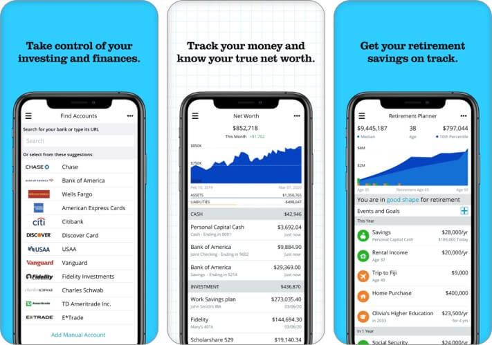 Personal Capital Expense Tracker iPhone and iPad App Screenshot