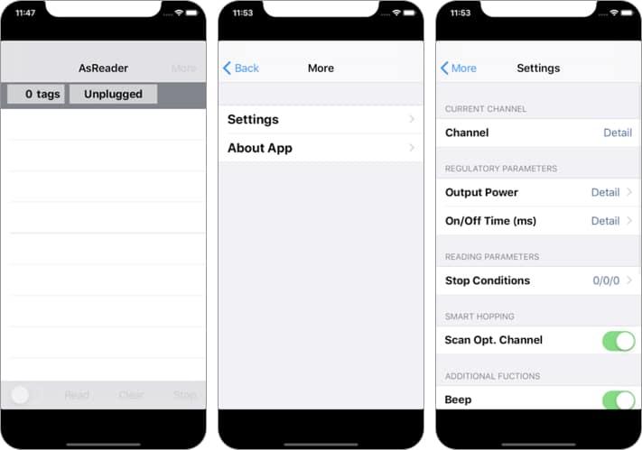 RFID AsReader Dock iPhone and iPad App