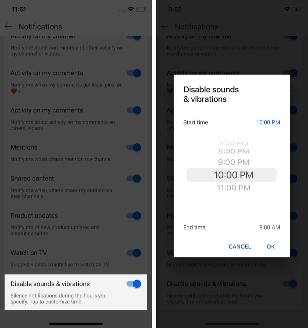 Turn on Disable sounds and Vibrations silent YouTube notifications at your specified time