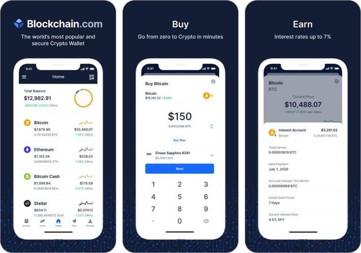 Blockchain Wallet Cryptocurrency iPhone and iPad App Screenshot